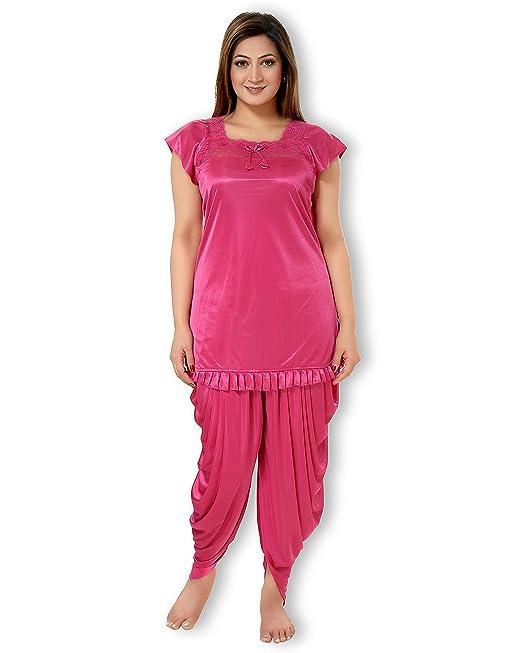 00e88c9cf9 AV2 Women s Satin Night Suit Set  Amazon.in  Clothing   Accessories