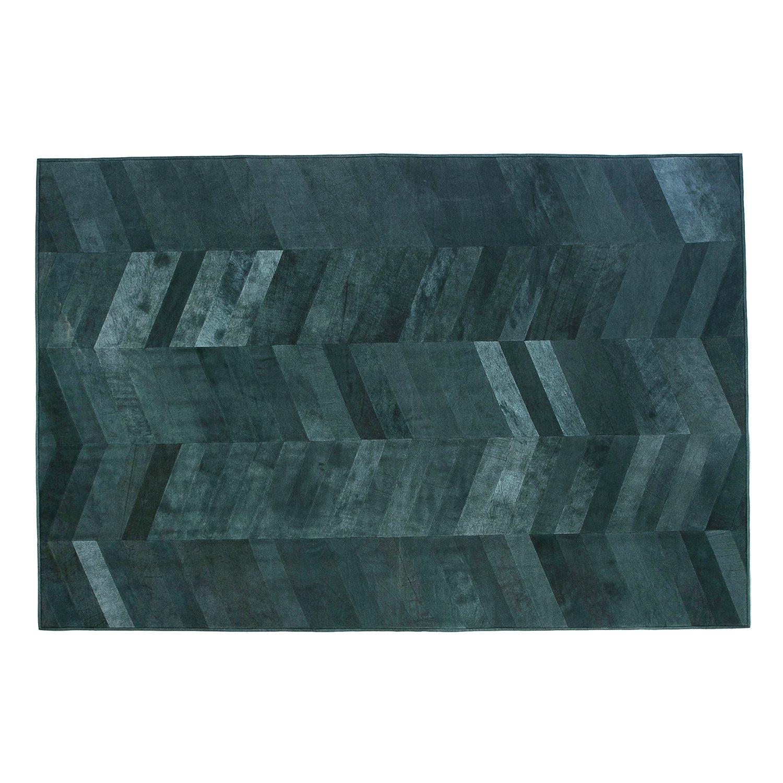Formart Mosaic Parquet Recycelter Lederteppich mit Schwarzem Parkettmuster und Versteckten Nähten, Leder, Schwarz, 240 x 170 x 0.4 cm