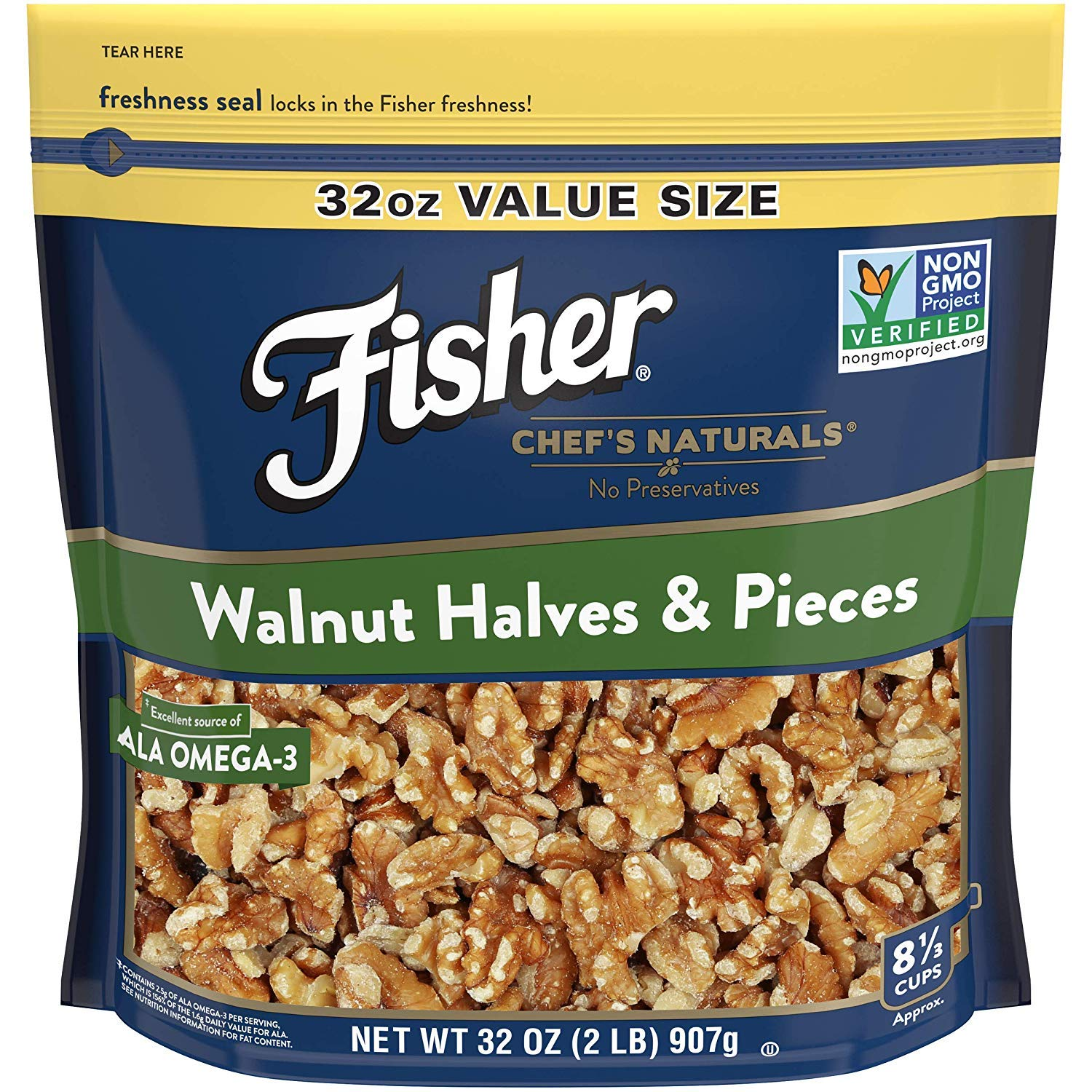 FISHER Chef's Naturals Walnut Halves & Pieces, 32 oz, Naturally Gluten Free, No Preservatives, Non-GMO