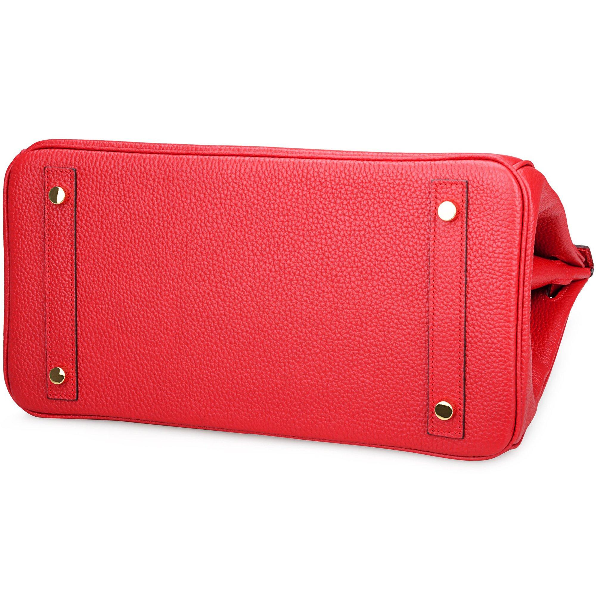 SanMario Designer Handbag Top Handle Padlock Women's Leather Bag with Golden Hardware Red 35cm/14'' by SanMario (Image #8)