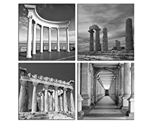 NAN Wind 4 Panels Giclee Black and White Ancient Greece Architecture Landscape Pictures Paintings on Canvas Wall Art Ready to Hang for Bedroom Home Office Decorations