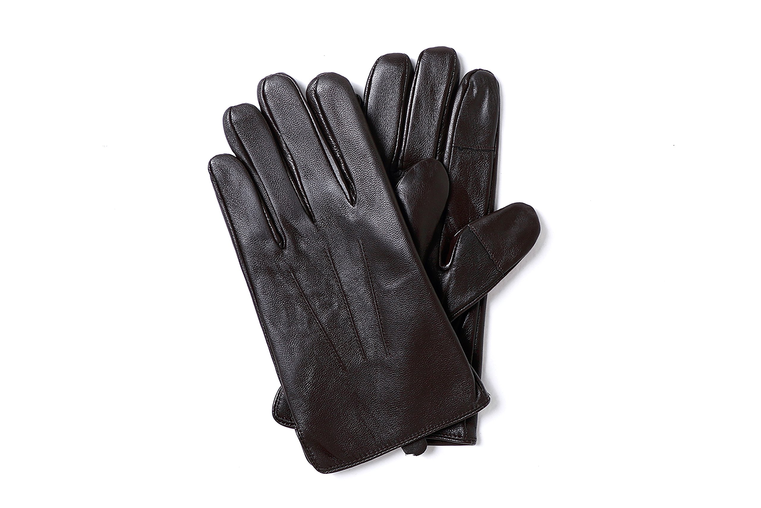 YISEVEN Men's Sheepskin Leather Gloves Three Points Wool Lined Real Luxury Design Soft Hand Warm Fur Heated Lining for Winter Stylish Dress Work Xmas Gift and Motorcycle Driving, Brown 095/Large by YISEVEN (Image #4)
