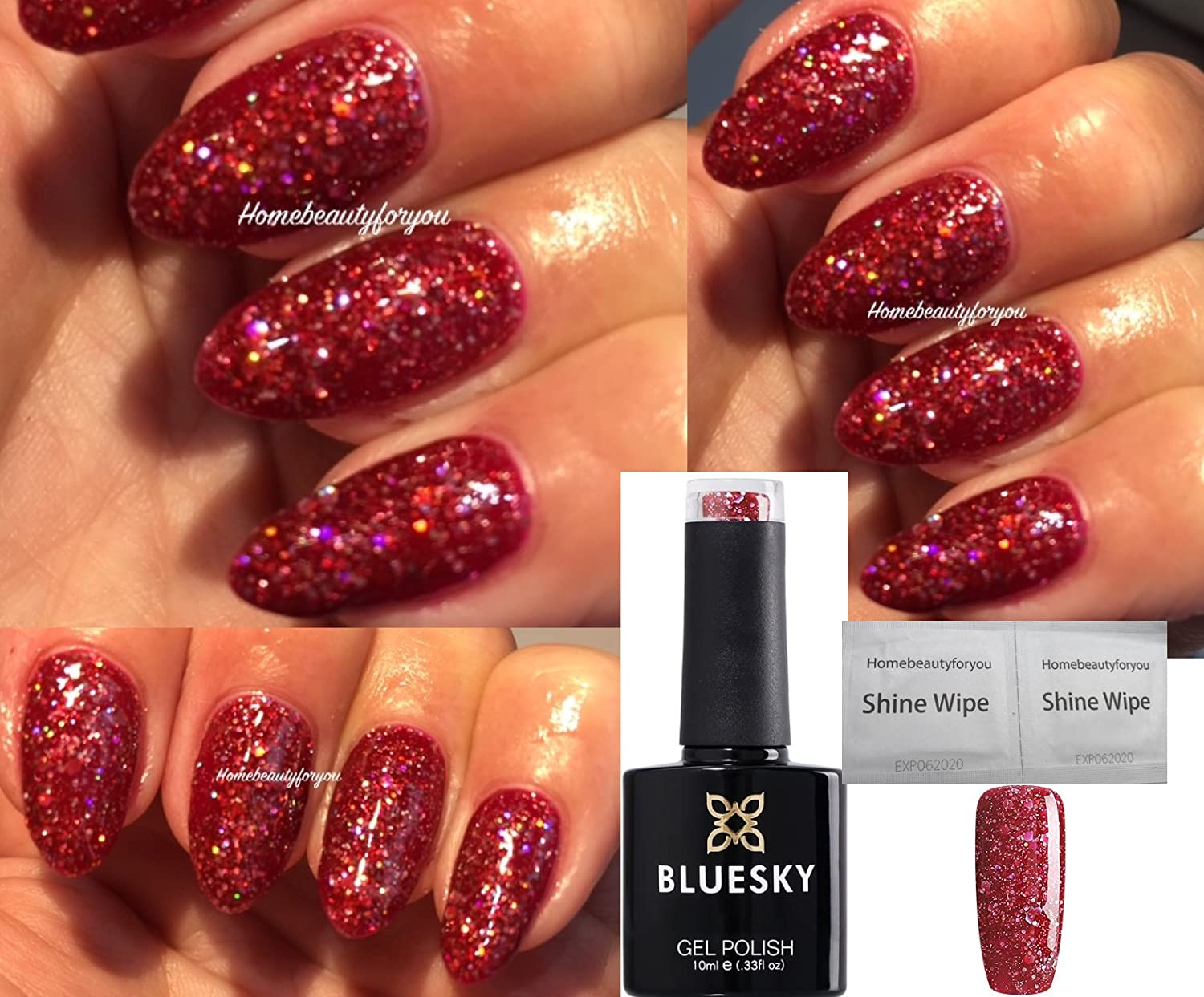 Bluesky BLZ12 Red Multi Glitter Sparkle Christmas Nail Gel Polish UV LED Soak Off 10ml PLUS 2 Homebeautyforyou Shine Wipes LTD