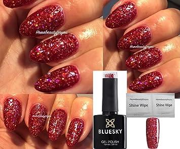 Christmas Nails Gel.Bluesky Blz12 Red Multi Glitter Sparkle Christmas Nail Gel Polish Uv Led Soak Off 10ml Plus 2 Homebeautyforyou Shine Wipes