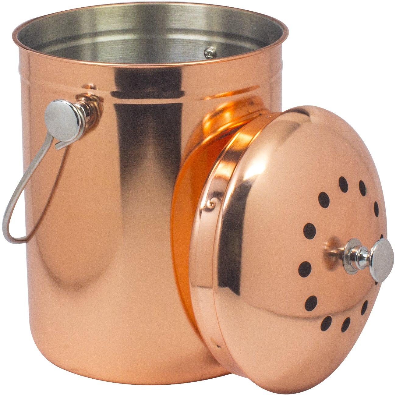 Sorbus Compost Bin, Copper, 1 Gallon STL-BIN-CP