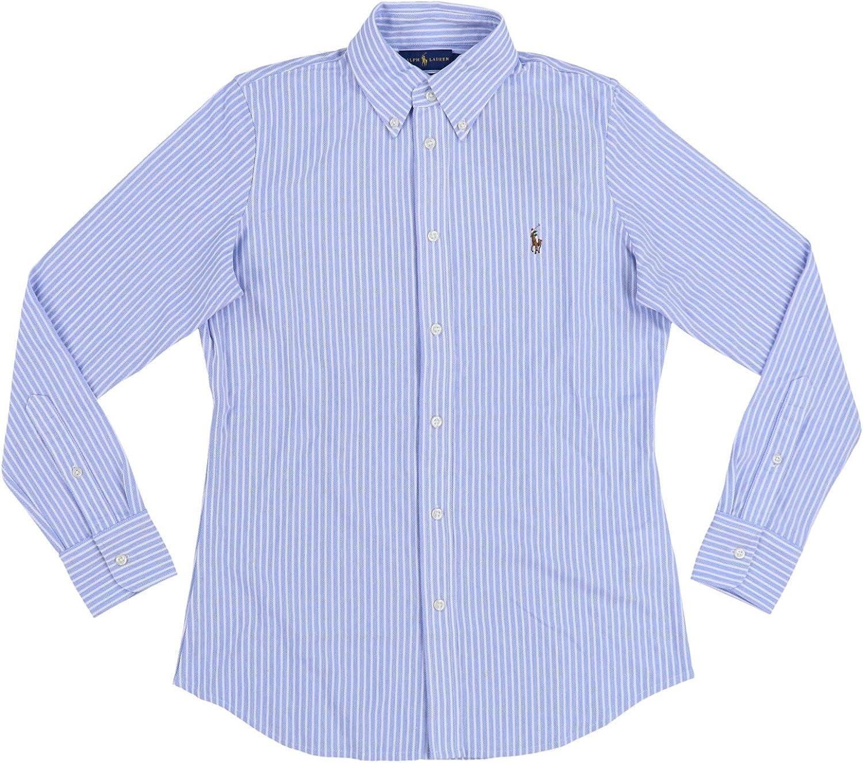 Polo Ralph Lauren - Camisa Oxford de punto para mujer - Azul ...