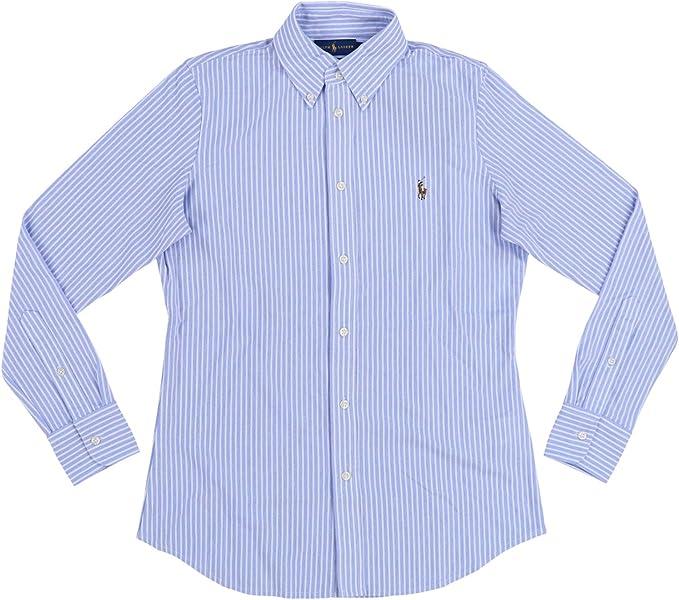Polo Ralph Lauren - Camisa Oxford de punto para mujer - Azul - Medium: Amazon.es: Ropa y accesorios