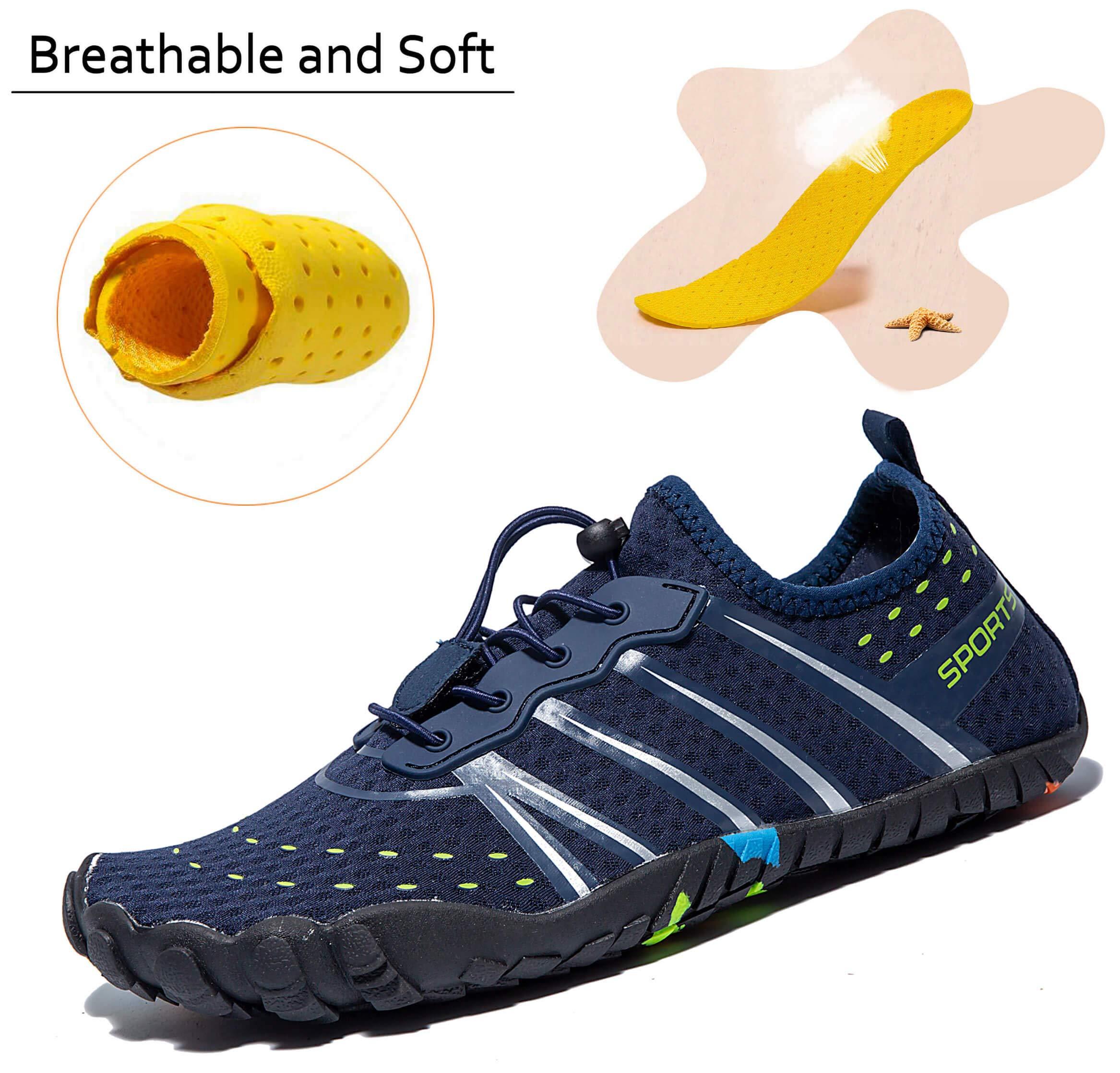 LINGTOM Mens Womens Aqua Water Shoes Quick Dry Barefoot Sports Exercise for Walking Swimming Diving Beach Surf Pool Yoga,Dark Blue 12.5 M US Women / 11 M US Men by LINGTOM (Image #7)
