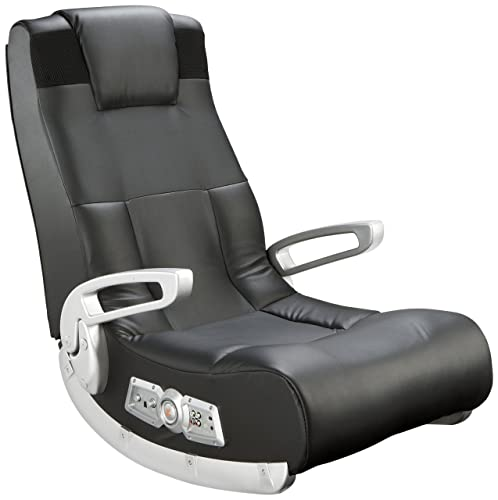 Ace Bayou X Rocker II SE 2.1 Black Leather Floor Video Gaming Chair for Adult, Teen, and Kid Gamers with Armrest and Headrest