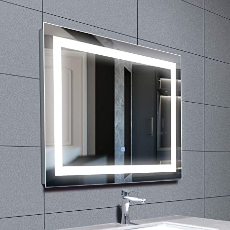 Amazon Com Mecor 28x36 Inch Led Lighted Bathroom Mirror Silvered Wall Mounted Mirror With Touch Button Anti Fog And Ip44 Waterproof Hanging Rectangle Vertical Horizontal Mirror Kitchen Dining