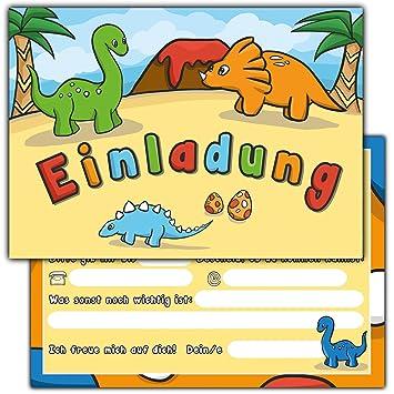 10 Einladungskarten Zum Kindergeburtstag U0026quot;Dinosaurieru0026quot; //  Geburtstagseinladungen Einladungen Geburtstag Kinder Jungen Mädchen