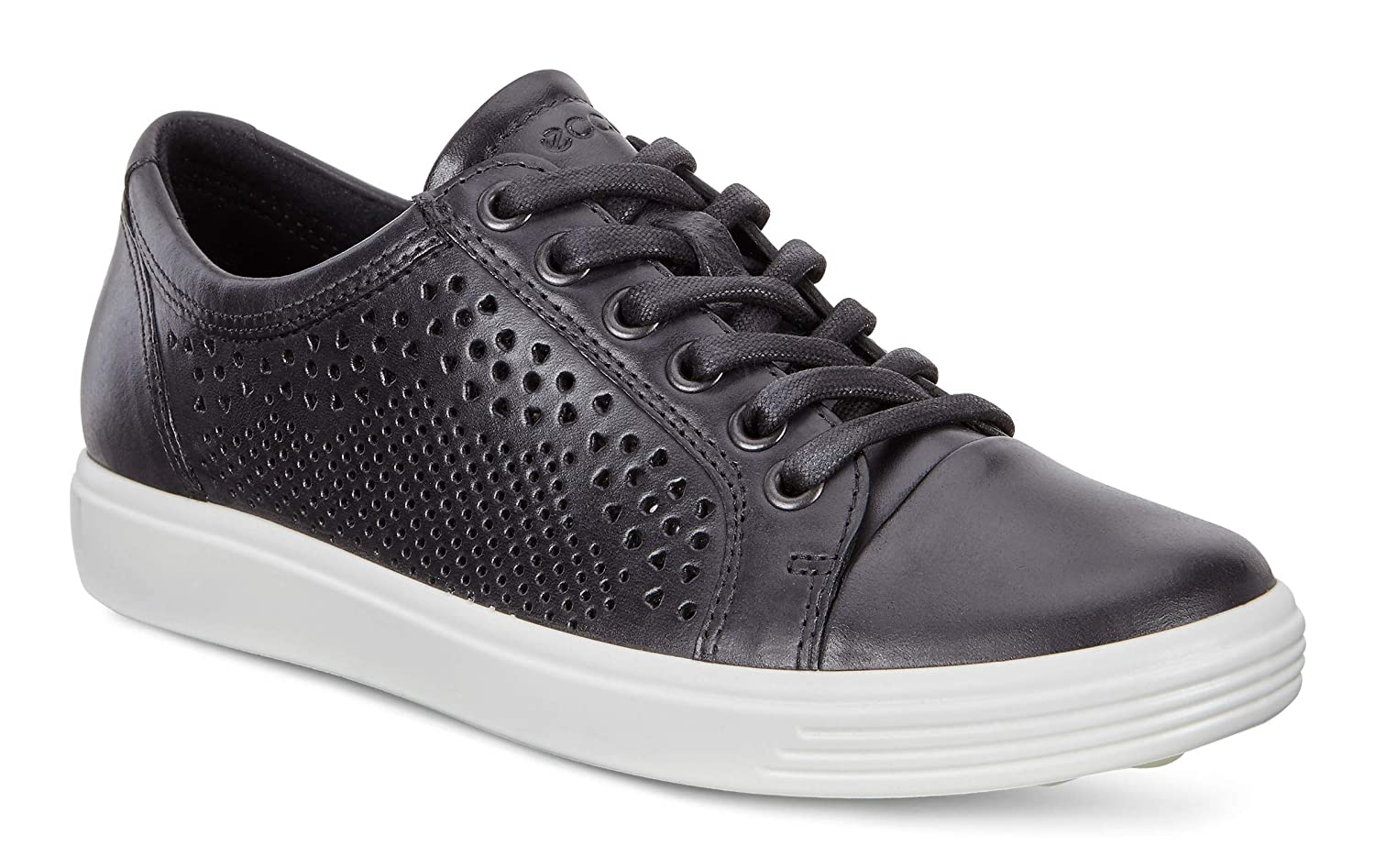BLACK ECCO Womens Soft 7 Lace Cut Leather Fashion Sneakers