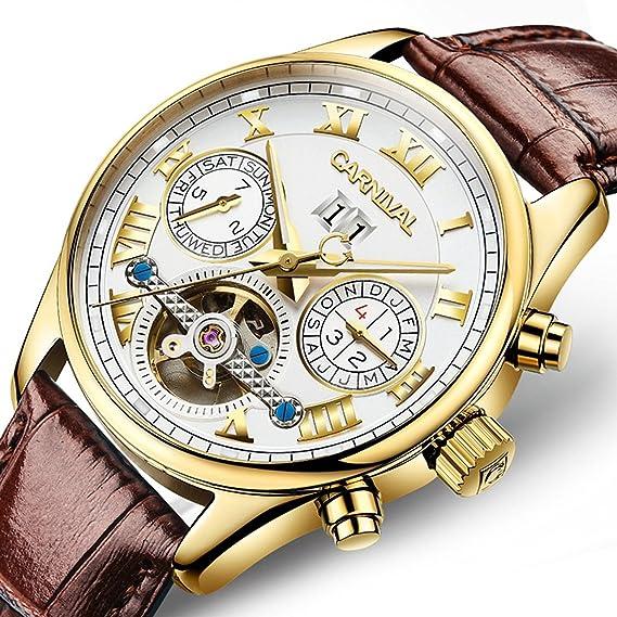Hombre Calendario Carnival Mecánico Marca Tourbillon Reloj Doble Onw8Pk0X