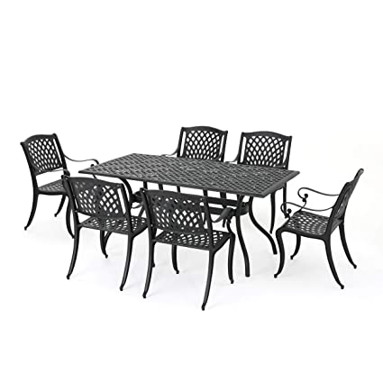 Great Deal Furniture Marietta | 7 Piece Cast Aluminum Outdoor Dining Set |  Perfect For Patio