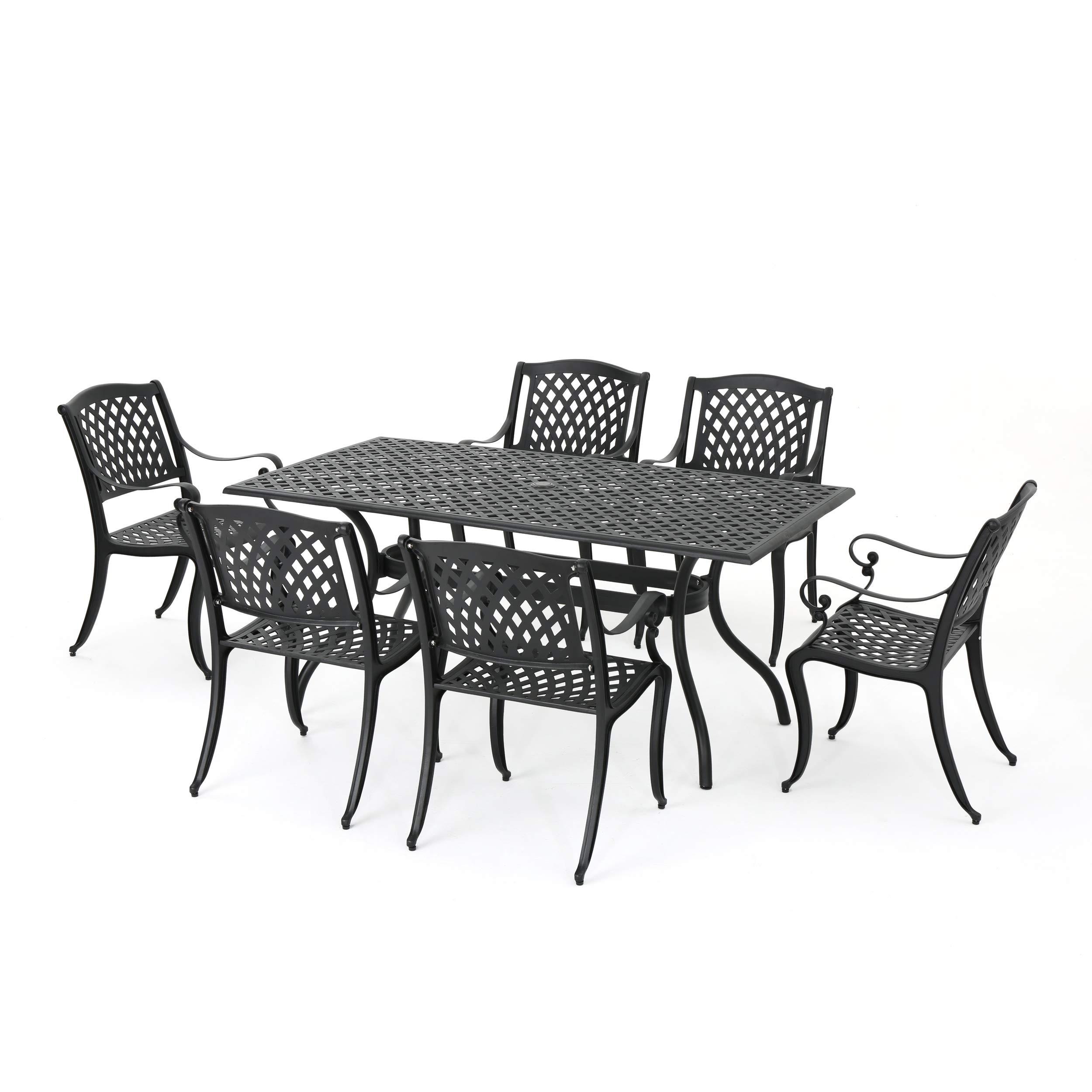 Great Deal Furniture 295848 Deal Furniture Marietta | 7 Piece Cast Aluminum Outdoor Dining S, Black