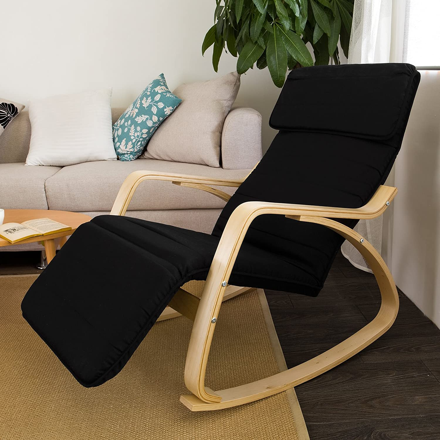 Haotian Relax Rocking Chair with Foot Rest Design, Lounge Chair, Recliners Poly-cotton Fabric Cushion,FST16-SCH,Black Color