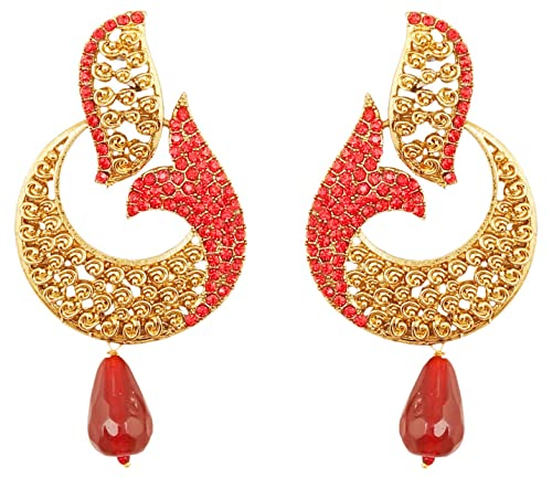 Amazon touchstone indian bollywood pretty curved fish motif touchstone indian bollywood pretty curved fish motif candy red rhinestone long bridal designer jewelry chandelier earrings aloadofball Images
