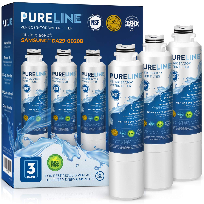 Samsung DA29-00020B Water Filter Replacement. Compatible Samsung Models: DA29-00020B, Haf-Cin/Exp, DA29-00020B-1, RF4267HARS, RF28HFEDBSR, RF28HMEDBSR, and Many More Samsung Models -PURELINE (3 Pack) by PURELINE