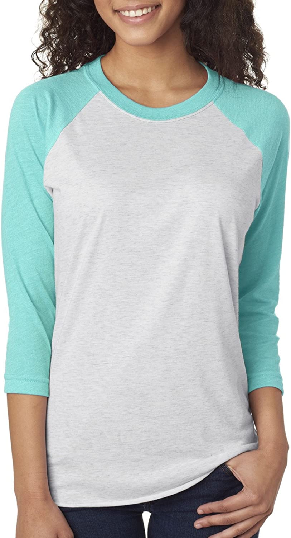 Next Level Unisex 3/4-Sleeve Raglan T-Shirt, Tahiti Blue/HTHR Wht, XX-Large