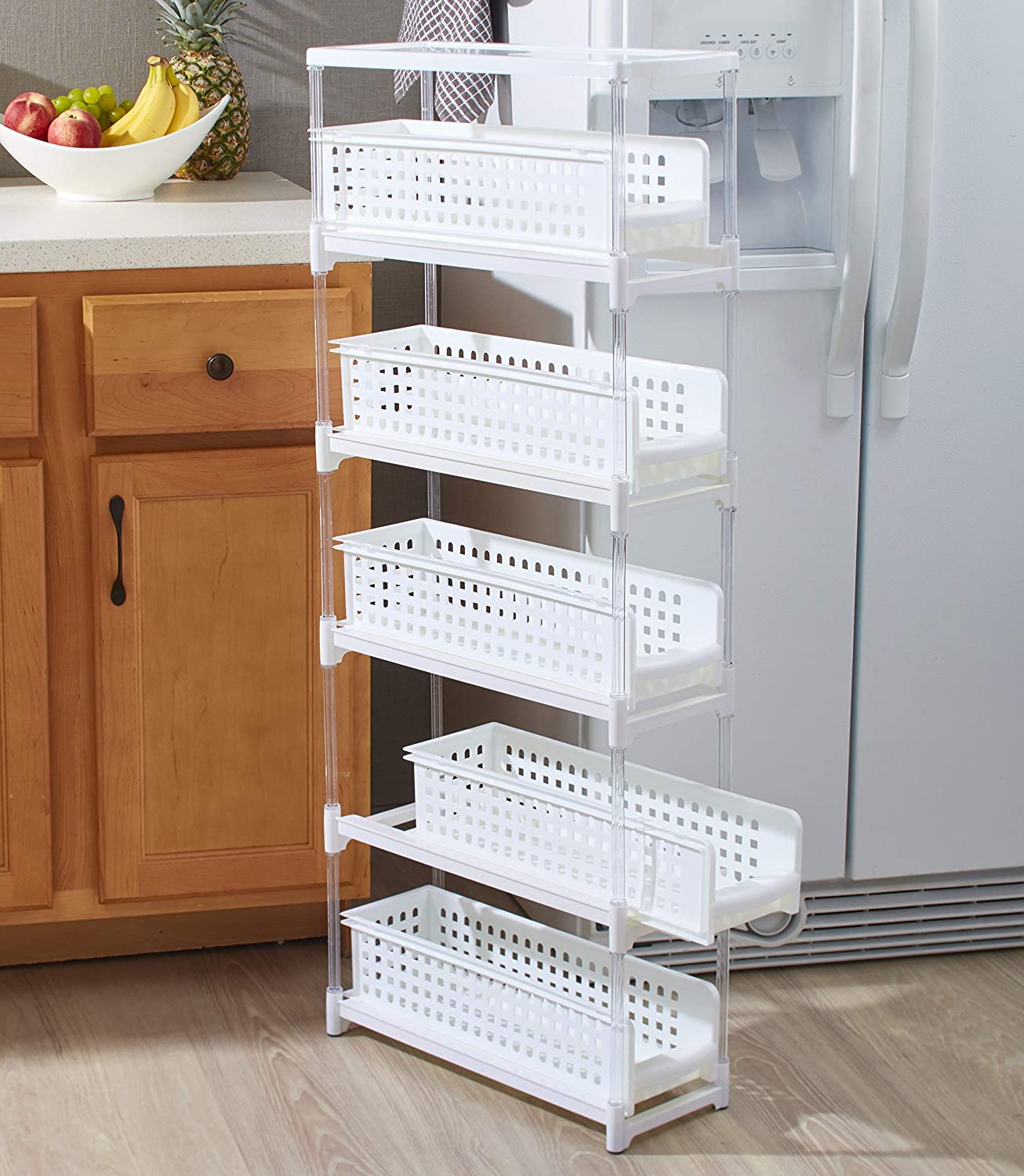 Slim Kitchen Storage With Five Slide Out Drawers For Pantries Gaps Bathrooms Kitchen Dining