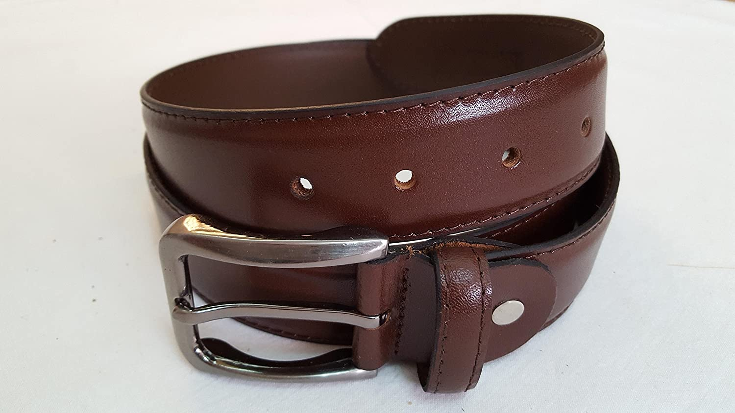 Men Brown Medium (Size 34) leather belt with Modern Silver Buckle - S & S