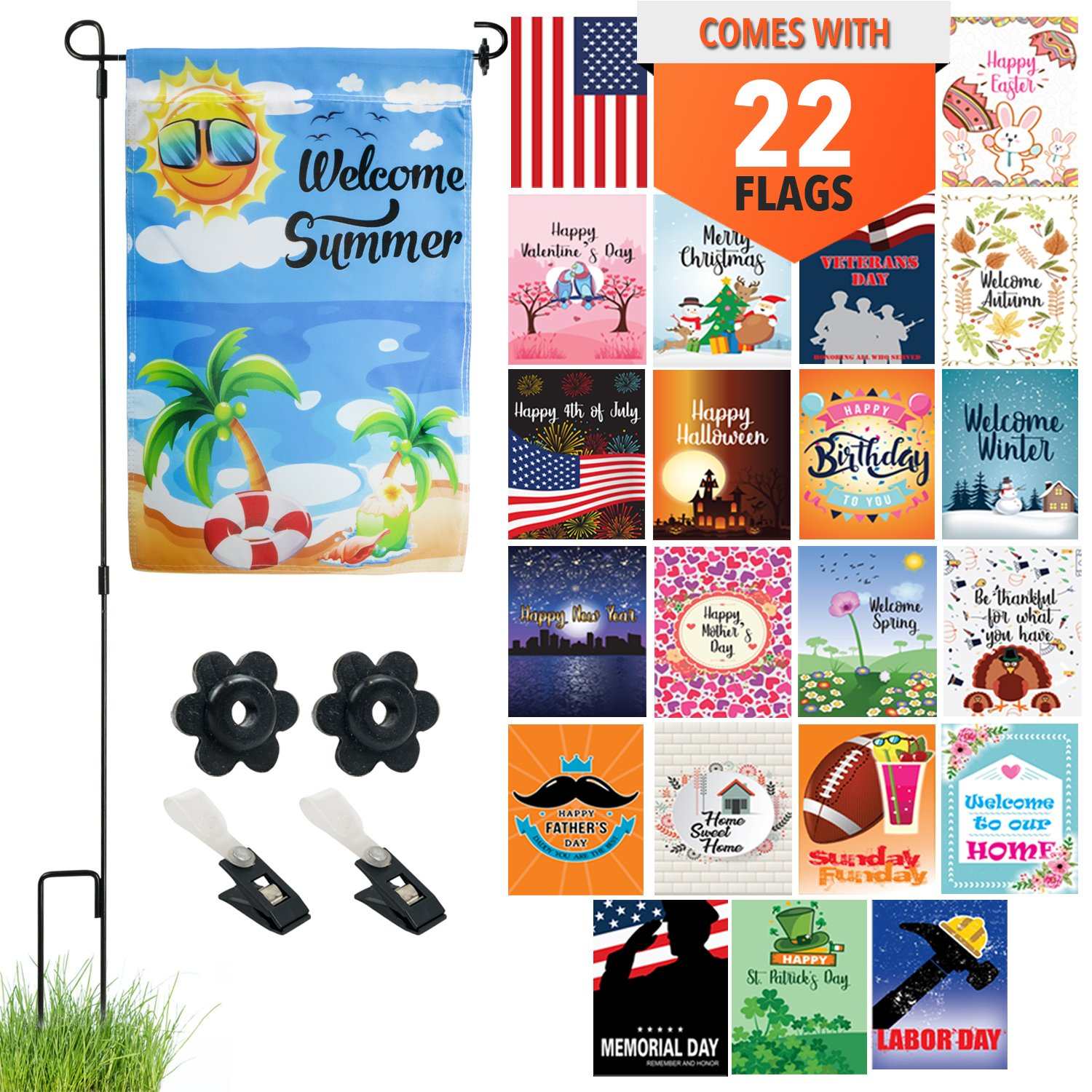 Seasonal Garden Flag Set of 22 - Premium Assortment of Durable 12 Inch x 18 Inch Double Sided Weatherproof Polyester Flags, Includes Flag Pole Stand, 2 Wind Clips and 2 Rubber Stoppers For All Seasons