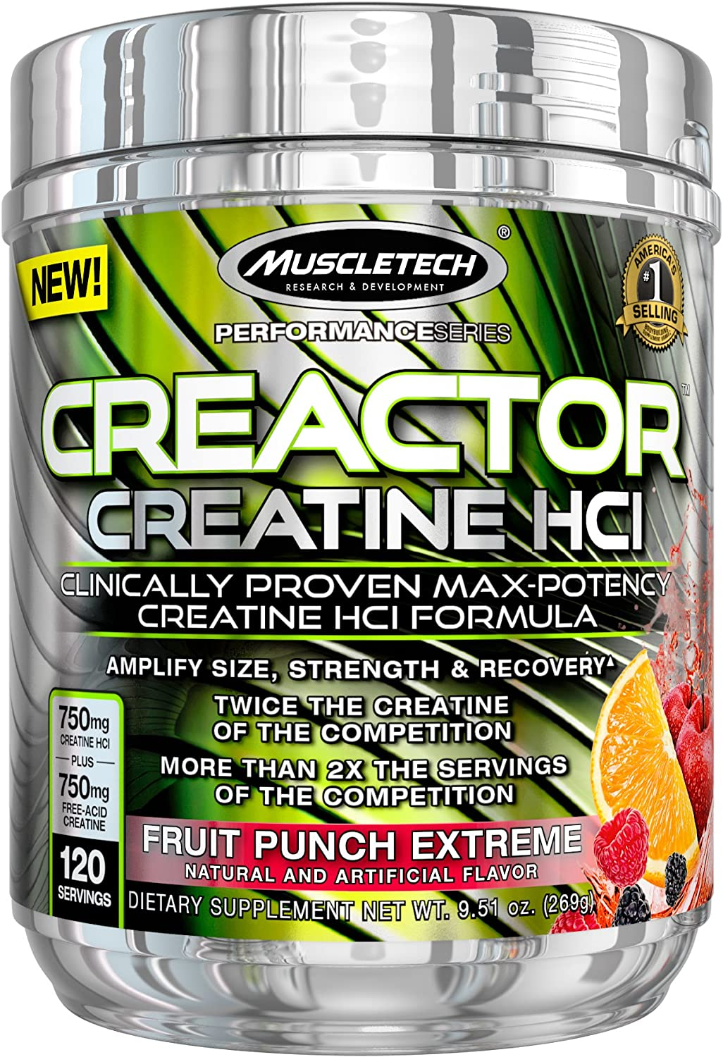 MuscleTech Creactor, Max Potency Creatine Powder, Micronized Creatine and Creatine HCl, Fruit Punch Extreme, 120 Servings 269g
