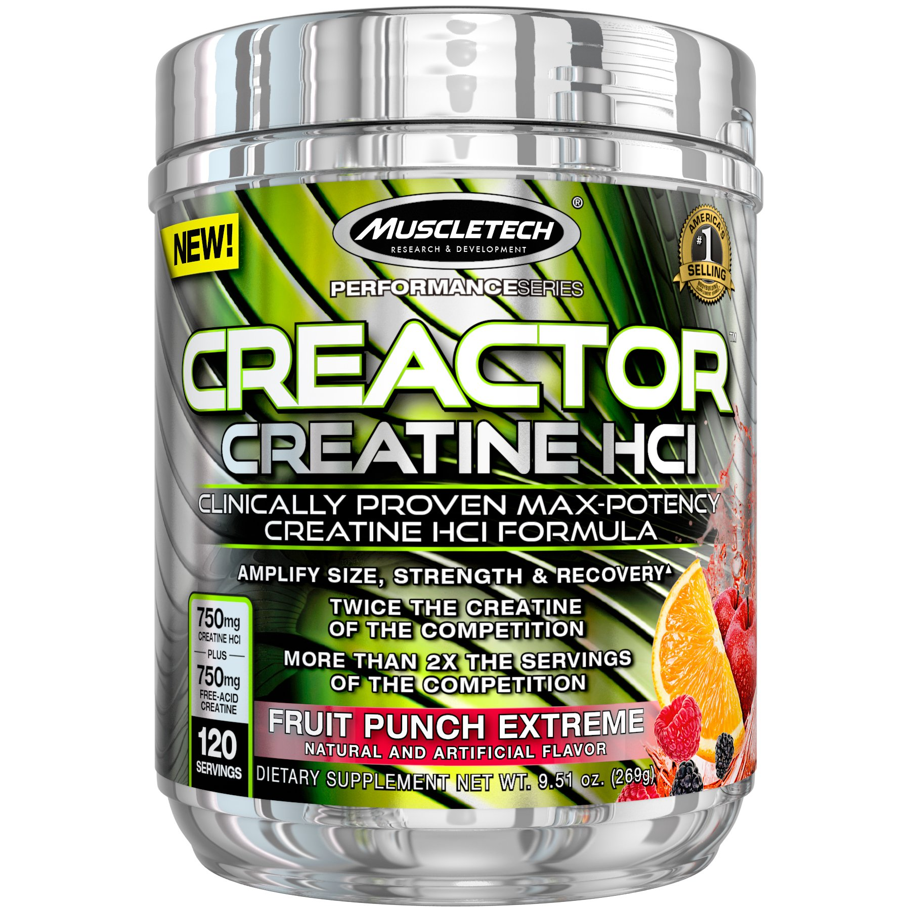 MuscleTech Creactor, Max Potency Creatine Powder, Micronized Creatine and Creatine HCl, Fruit Punch Extreme, 120 Servings (269g)