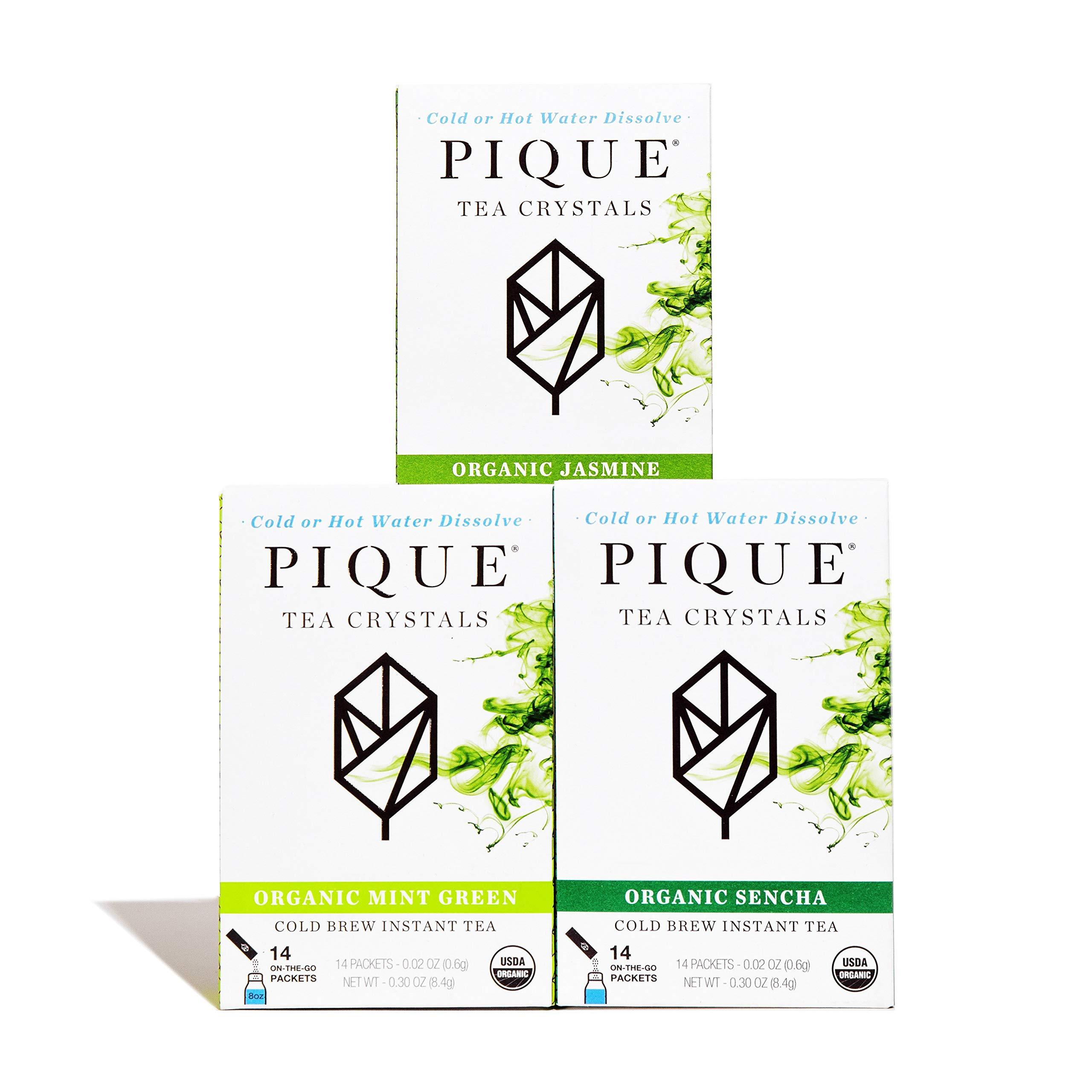 Pique Tea Organic Green Tea Crystals Sampler - Gut Health, Fasting, Calm - 42 Single Serve Sticks (Pack of 3) by PIQUE