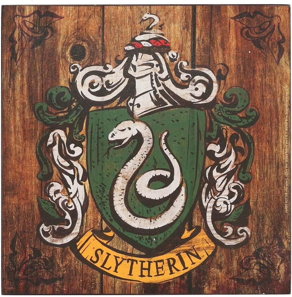 Open Road Brands Harry Potter Slytherin Crest Wood Wall Art - an Officially Licensed Product Great Addition to Add What You Love to Your Home/Garage Decor