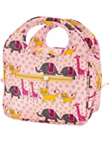 iSuperb Insulated Lunch Bag Box Tote Waterproof Cooler Bag Reusable with Adorable Animal Image Insulated Lunch Bags for Women Ladies Girls Children Kids Student Teenagers (African Animals Pink)