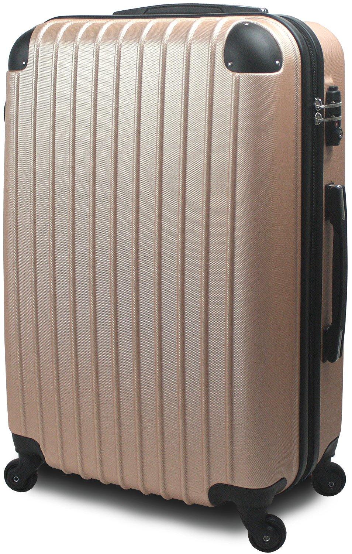 スーツケース キャリーバッグ 超軽量 大型 Lサイズ TSA搭載 FS2000 ダブルファスナー B071F8FLTC 大型 Lサイズ 7~14泊用|ゴールド ゴールド 大型 Lサイズ 7~14泊用