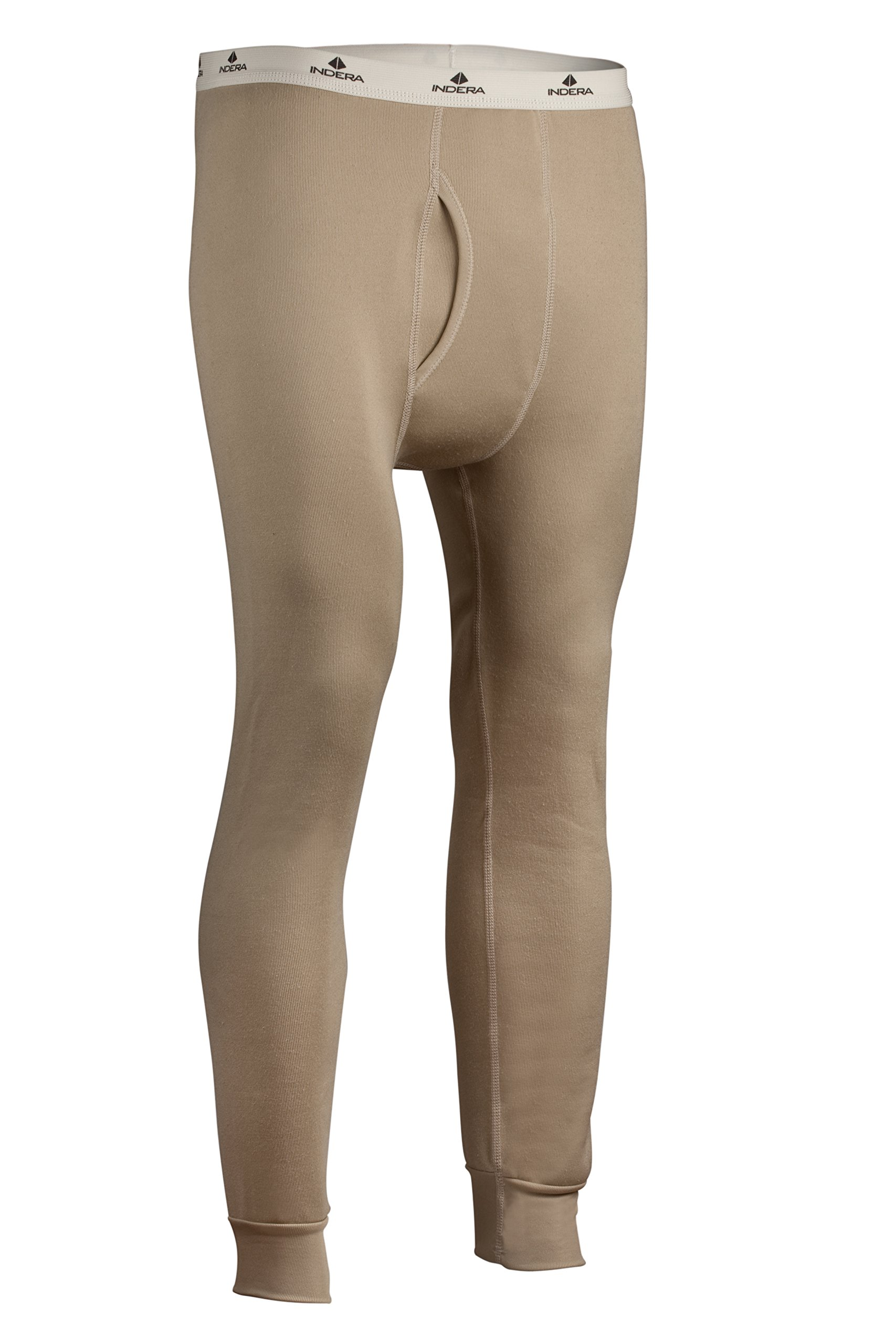 Indera Men's Military Weight Fleeced Polyester Thermal Underwear Pant, Sand, Large by Indera