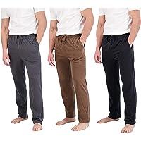Real Essentials 3 Pack:Men's Cotton Super Soft Flannel Plaid Pajama Pants/Lounge Bottoms Pockets