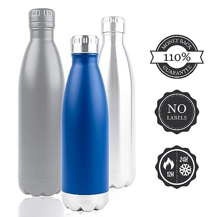 Aislado Botella Gimnasio, Azúl Termica Botella de agua acero inoxidable 0,75L (750ml