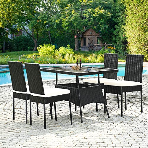 HAPPYGRILL 5-Piece Patio Dining Set Rattan Wicker Table Chairs Set