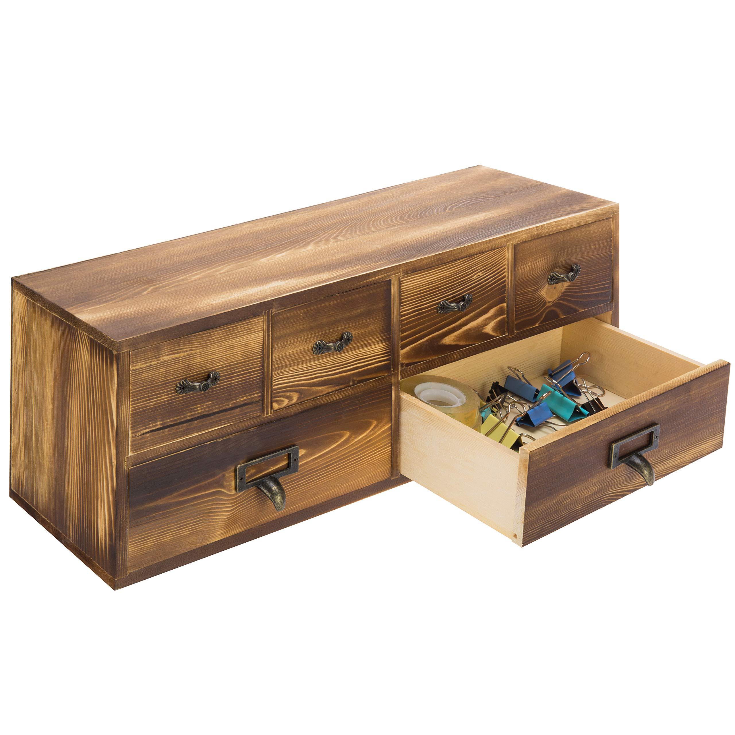 MyGift 19-Inch Burnt Wood Wall Mountable Storage Cabinet, Desktop Organizer Drawers