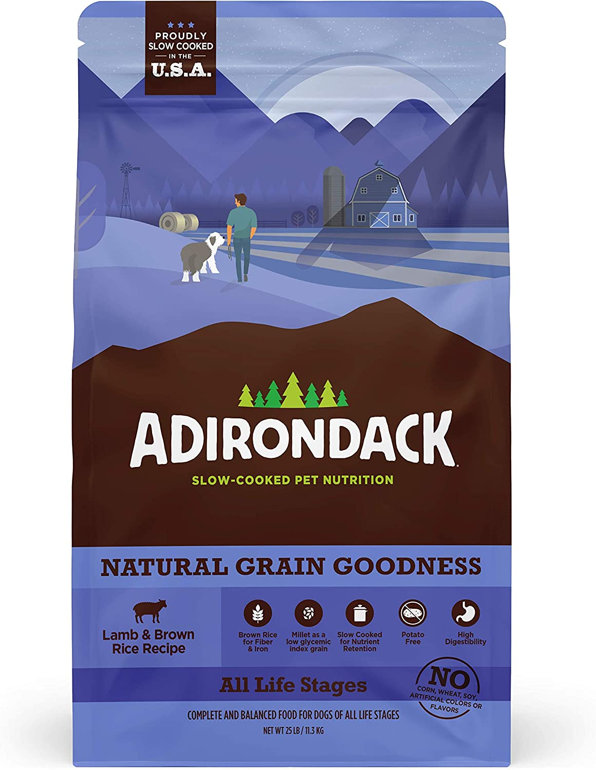 Adirondack Dog Food Made in USA [Complete and Balanced Adult Dog Food For All Life Stages], Lamb Meal & Brown Rice Recipe
