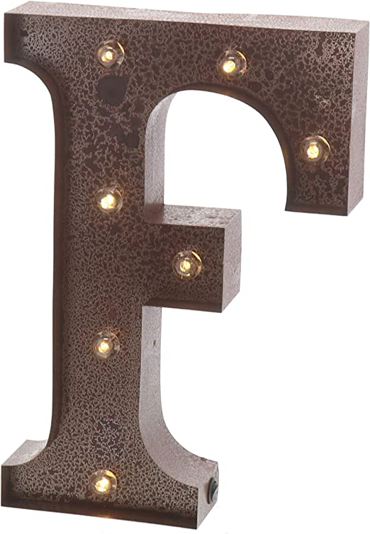 """Barnyard Designs Metal Marquee Letter F Light Up Wall Initial Wedding, Home and Bar Decoration 12"""" (Rust)"""