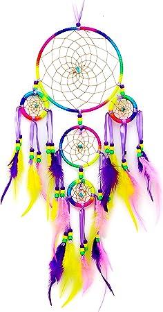 Dream Catcher Ornement Capteur de R/êves Plume D/écoration Mariage Maison Mural Voiture Fille Enfant Multicolore Amaone Attrape-r/êves Indien Attrape Reve Cadeau