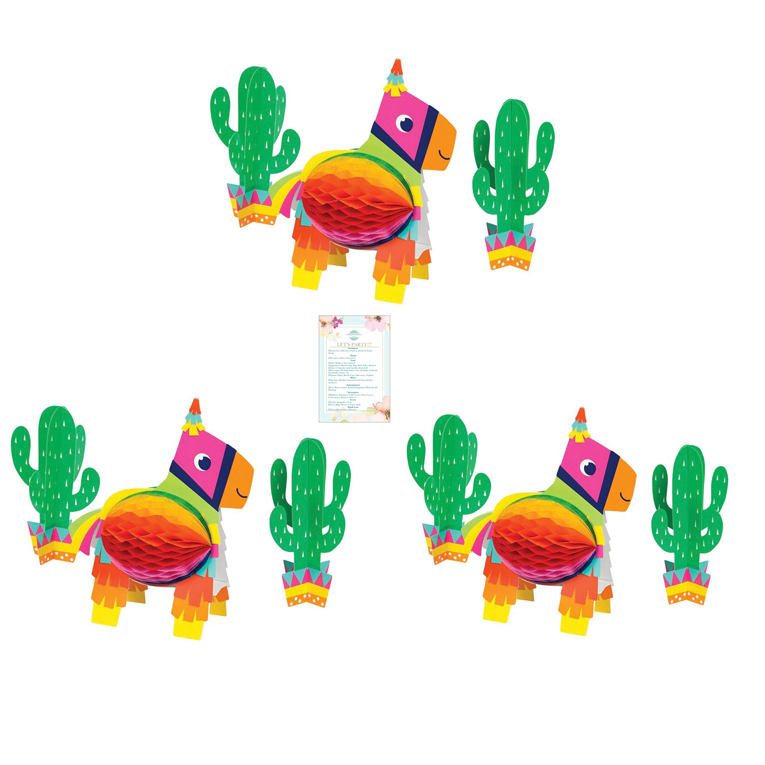 Three 3-Piece Fiesta Pinanta and Cacti Centerpieces (with Party Planning Checklist)