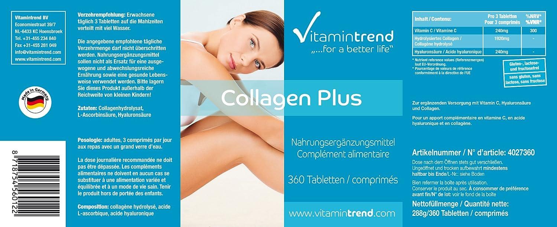 Colágeno con ácido hialurónico y vitamina C - bote grande para ¡4 MESES!- gran dosificación de Colágeno sin aditivos - para piel, huesos y articulaciones: ...