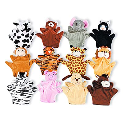 Five Finger Animal Hand Puppets with Arms and Legs (Set of 12) Zoo and Farm: Toys & Games
