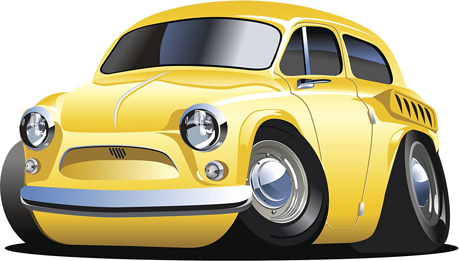 Amazon com classic simple stylish cool car cartoon 7 yellow coupe car vinyl sticker 4 wide automotive