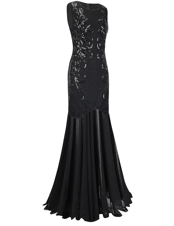 Amazon.com: PrettyGuide Women 1920s Ball Gown Sequin Long Evening ...