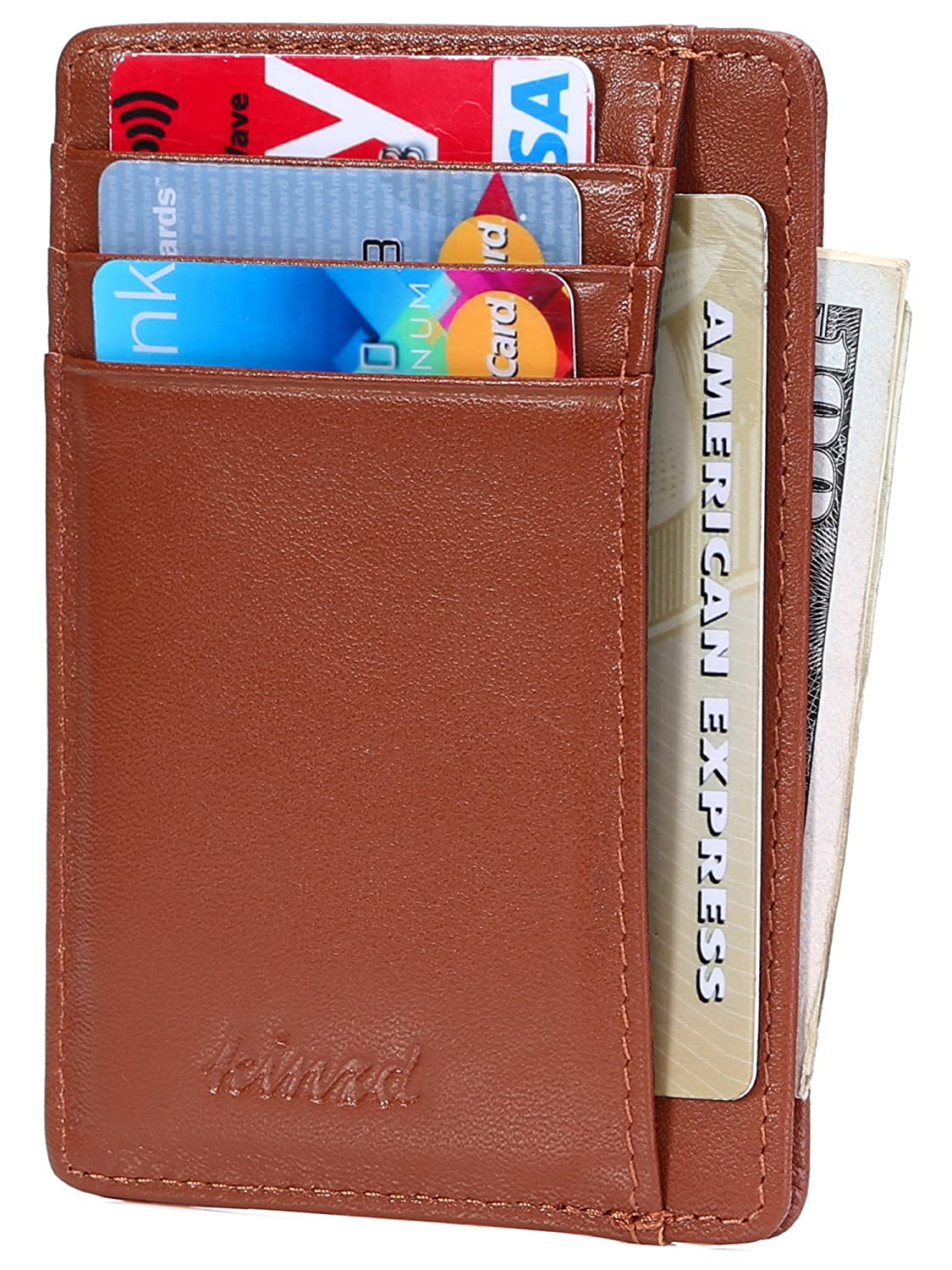 Slim Wallet RFID Front Pocket Wallet Minimalist Secure Thin Credit Card Holder AS216-K