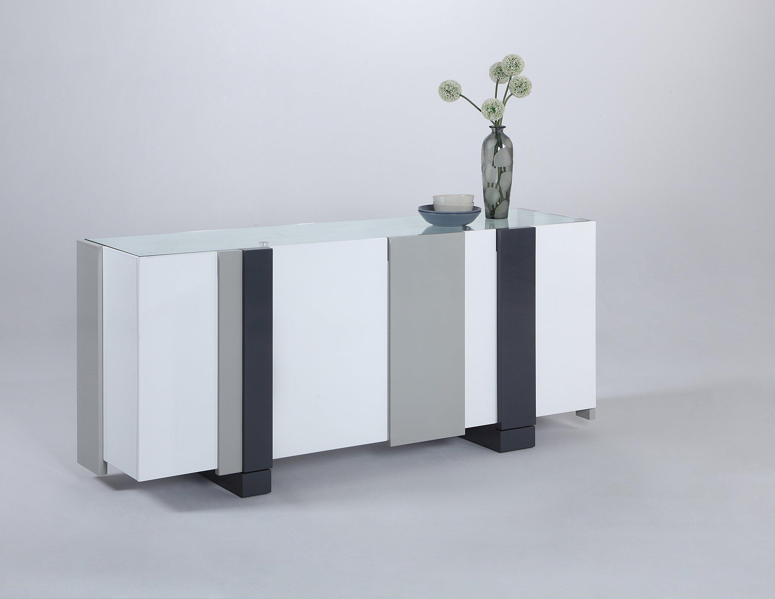 Milan Sheila Clear/White Modern Four-Door Buffet