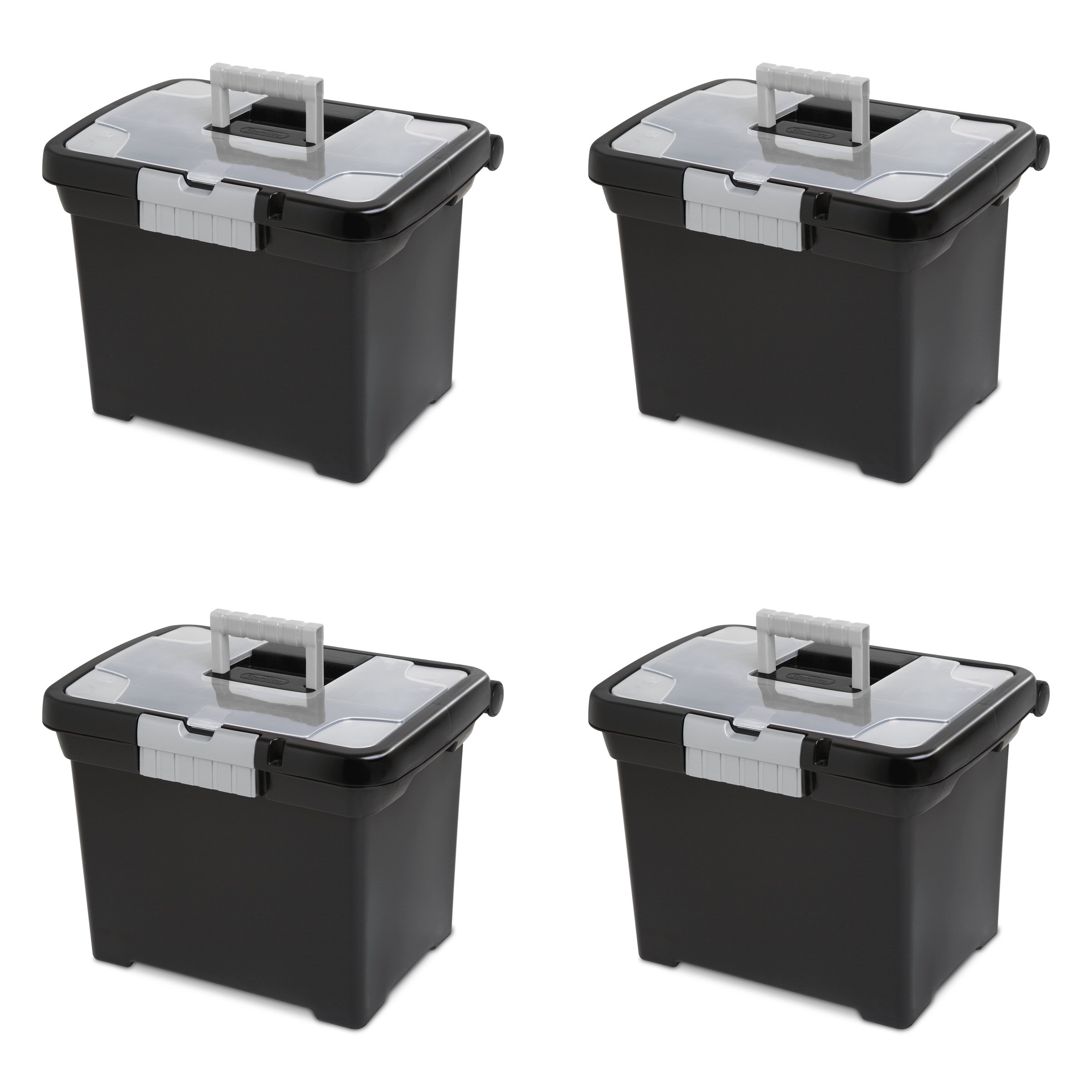 Sterilite 18719004 Portable File Box, Black with Clear Storage Lid and Titanium Handle and Latch, 4-Pack by STERILITE
