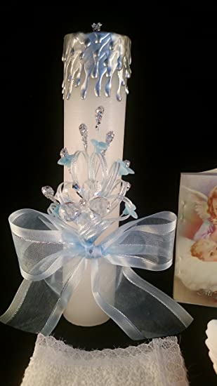 Amazon.com: Baptism Its a Boy, Baby Blue Set, Hand Decorated. Vela para Bautizo de Nino.: Toys & Games