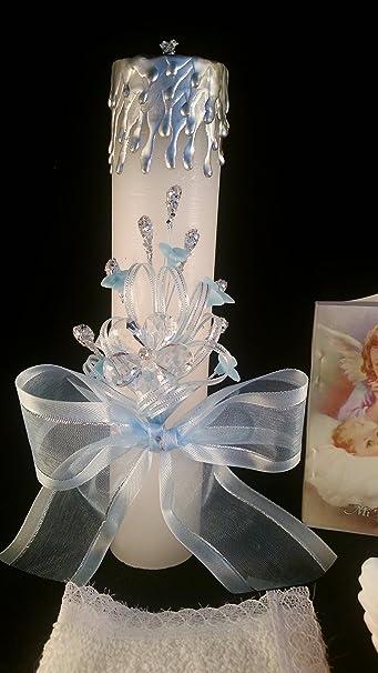 Amazon.com: Baptism Its a Boy, Baby Blue Set, Hand Decorated. Vela para Bautizo de Nino.: Toys & Games
